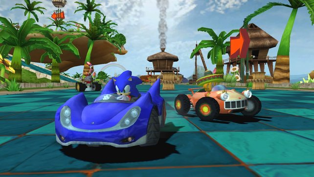 Sonic in seinem blauen Flitzer.