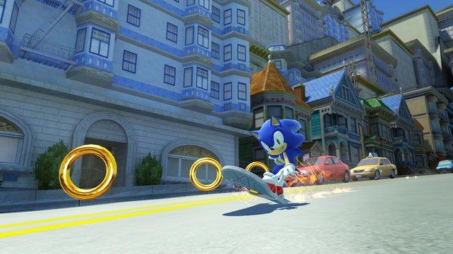 Ringe einsammeln mit Stil: Der moderne Sonic ist für jeden Stunt zu haben.