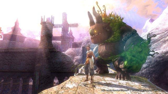 Gemeinsam mit eurem riesigen Begleiter erkundet ihr uralte Ruinen.