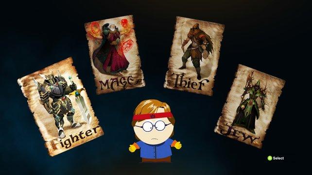 Die vier Charakterklassen im Überblick: Krieger, Magier, Dieb ... und Jude.