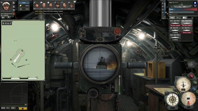 So verbringt ihr die Kämpfe im Spiel: Das Periskop bietet euch einen Ausblick auf Feind und die 3D-Welt.