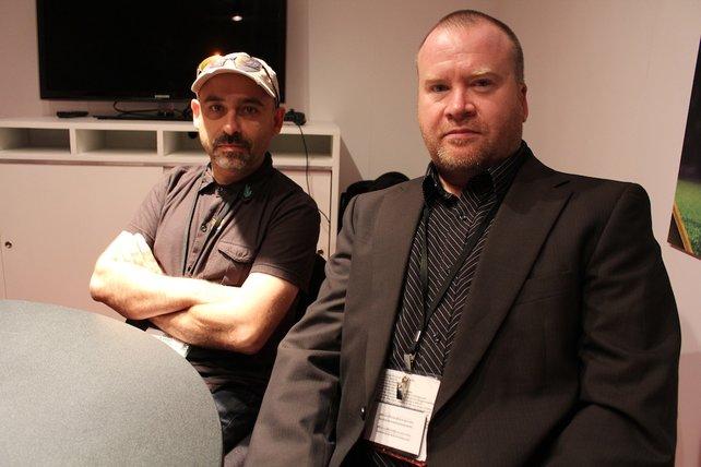 Enric Alvarez (von links) und Dave Cox verraten Details über Mirror of Fate.