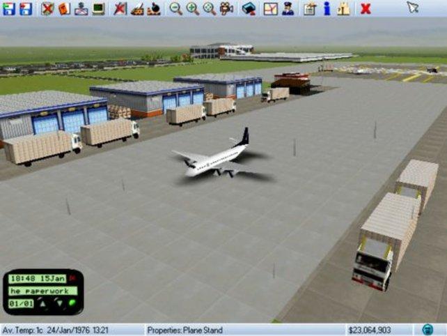 Ein Flugzeug auf dem Weg zur Startbahn.