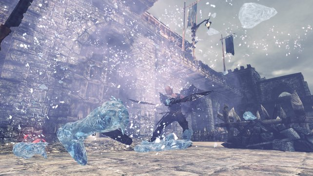 Mit Eis-Magie friert ihr Gegner ein. Sie zerbröseln, wenn ihr sie danach trefft.