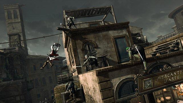 Fersengeld: Teilweise schwingen, hüpfen und klettern wir uns durch atemberaubende Verfolgungsjadgen.