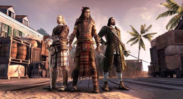 Hier seht ihr die drei neuen Charaktere auf einen Blick: Der Highlander, der Kojotenmann und der Gouverneur (von links).