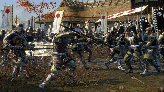 Sieg durch Fortschritt: Die Plattenpanzer unserer Samurai retten vor einer Niederlage gegen Naginatas Truppen.