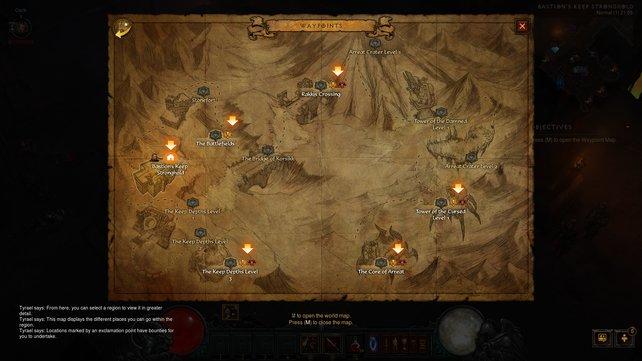 So sieht die Karte im Abenteuermodus aus.