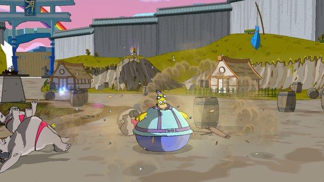 Homer kann als dicker Ball durch die Levels rollen.