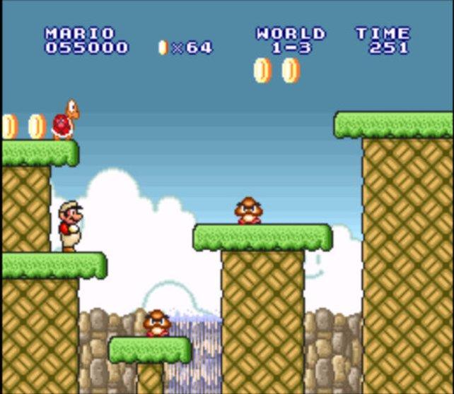 Aus der Seitenansicht springt Mario nach rechts zum Levelausgang.
