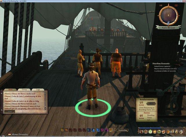 Die Mannschaften beider Schiffe machen sich nach einem erfolgreichen Entermanöver bereit zum Kampf.