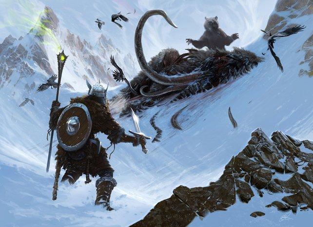 Der Kampf mit dem Braunbär: Inspiriert von solchen Illustrationen entstand die Spielgrafik.
