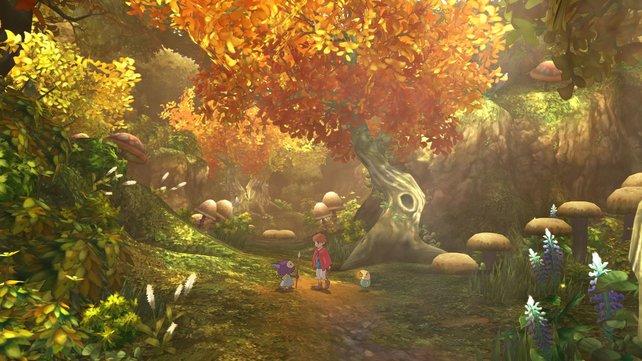 Oliver in einem herbstlichen Wald. Nur einer von vielen magischen Orten in Ni no Kuni.