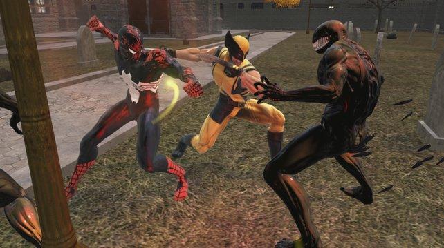 Dank Comic-Lizenz kein Problem: Spider-Man und Wolverine kämpfen gemeinsam.