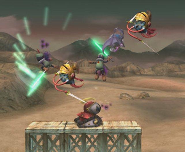 """Im Abenteuermodus """"Subraum-Emissär"""". Der Spieler wird von allen Seiten angegriffen."""