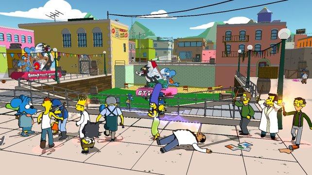 """Marge demonstriert gegen das böse Videospiel """"Grand Theft Scratchy""""."""