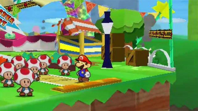 Mario läuft als flacher Held durch plastische Lande.