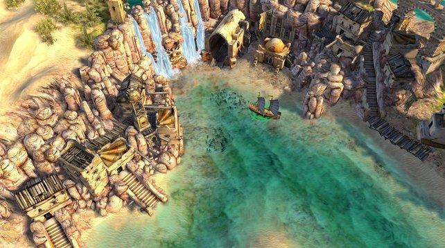 Hier seht ihr ein anderes Königreich. Am äußeren Bildschirmrand ist Wüste zu erkennen.
