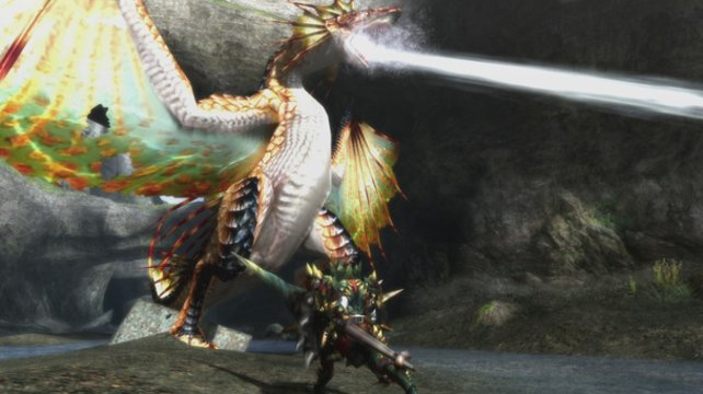 Im Kampf gegen Plesioth. Eines der vielen Riesenviecher in Monster Hunter 3 Ultimate.