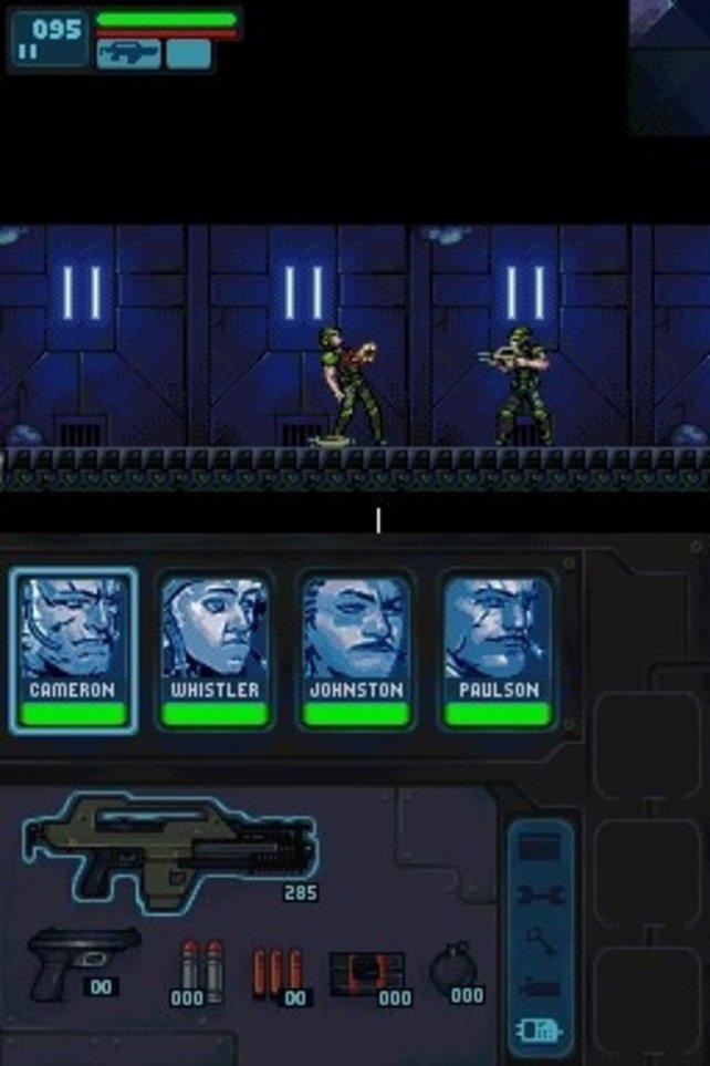 Im unteren Bildschirm wählt ihr eure Waffen oder wechselt zur Karten-Ansicht.
