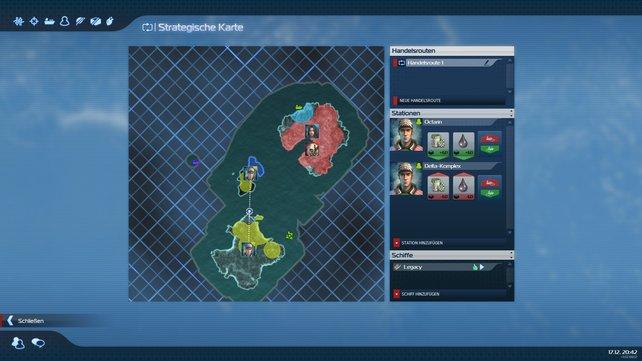 In der strategischen Karte plant ihr die Handelsrouten eurer Schiffe.
