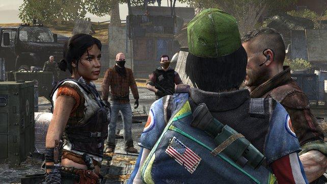 Die Widerstandskämpfer besprechen sich: links Rianna, rechts Connor