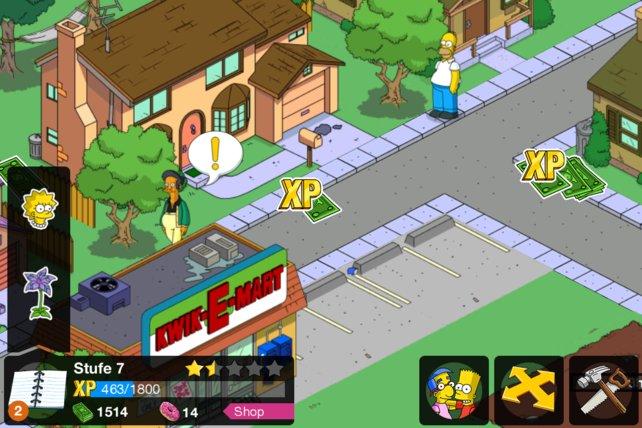 Die Simpsons bauen Springfield auf und ernten Erfahrung und Geld.