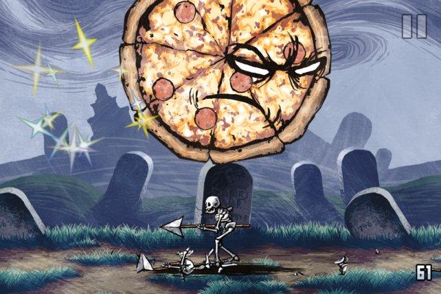 Wo gibt's denn sowas? Eine miesgelaunte Pizza macht Skelette platt.