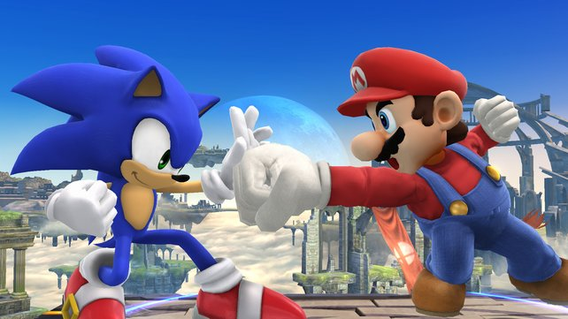 Einst waren sie erbitterte Feinde: Sonic gegen Mario, hier in einer Szene aus Super Smash Bros. Brawl auf der Wii.