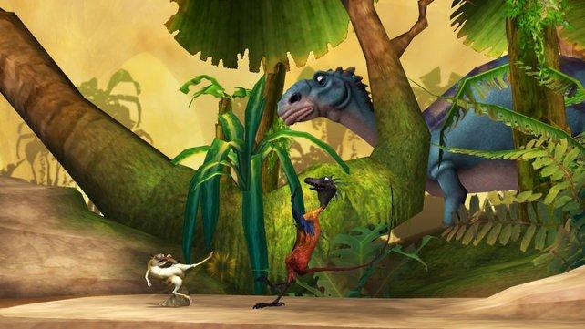 Wie im Film begegnen euch auch im Spiel Dinos.