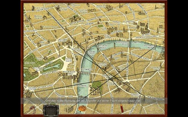 Wir zeichnen auf der Londonkarte alle Verbrechen ein.
