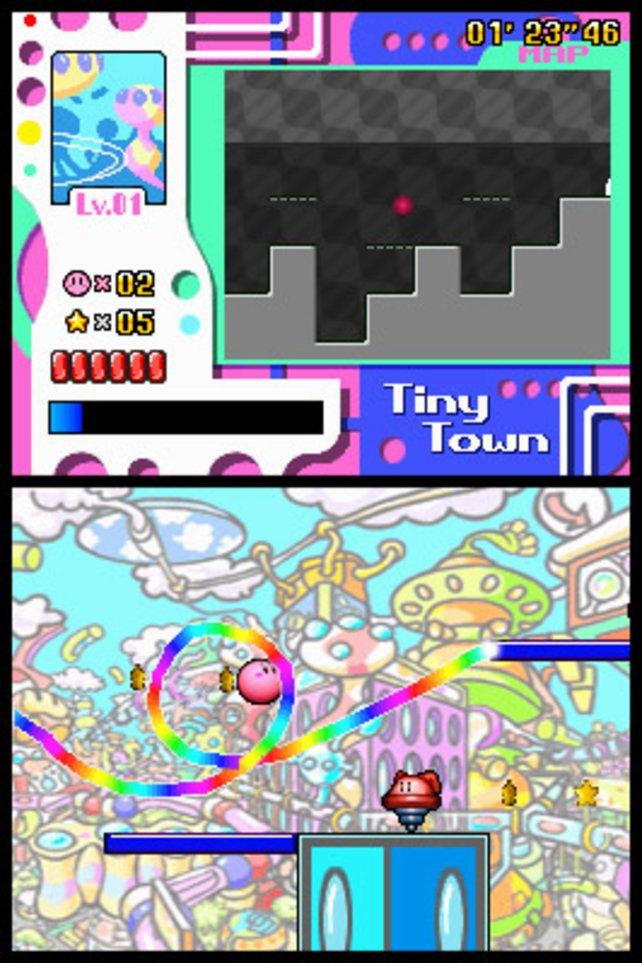 Bei Kirby Power Paintbrush (DS) zeichnet der Spieler mit dem Stylus eine Linie, der Kirby folgt.