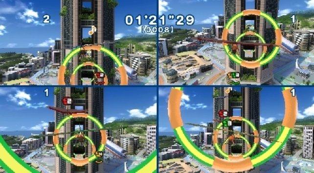 Mit dem Drachen versucht ihr, möglichst viele Ringe zu durchfliegen. Hier seht ihr das Stadt-Resort.