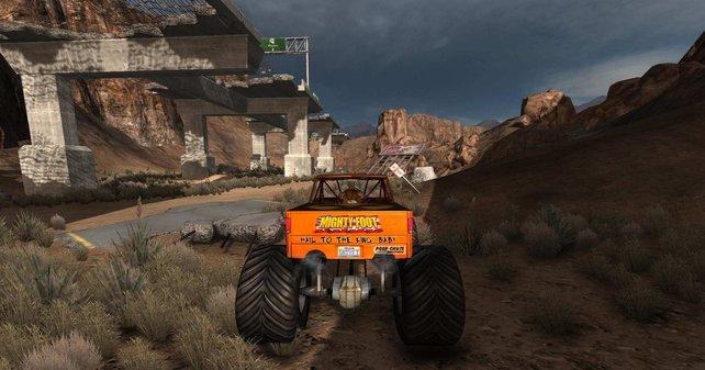 Im zweiten Level düsen wir mit dem Jeep durchs Ödland.