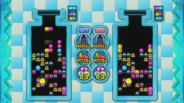 Ob alleine oder zu zweit, das klassische Spielprinzip von Dr. Mario motiviert.