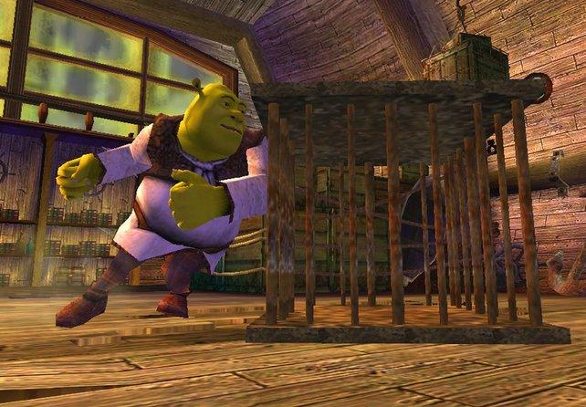 Shrek muss manchmal auch Kisten schieben