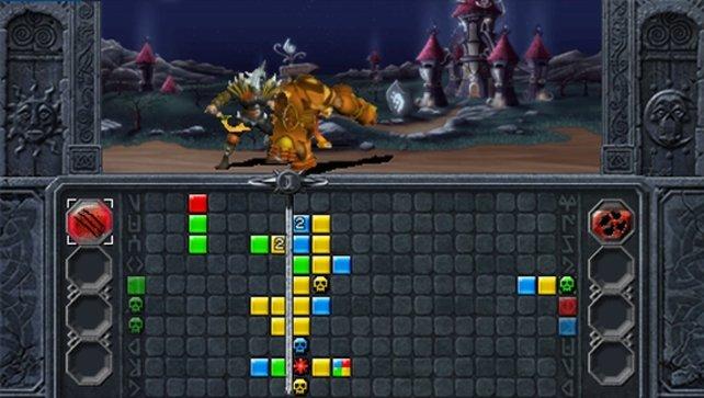 Seitwärts fallende Steine - Für Puzzle Quest-Fans ein ungewohnter Anblick.
