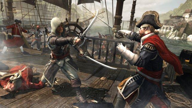 Edward kämpft bevorzugt mit zwei Säbeln und zwei Pistolen.