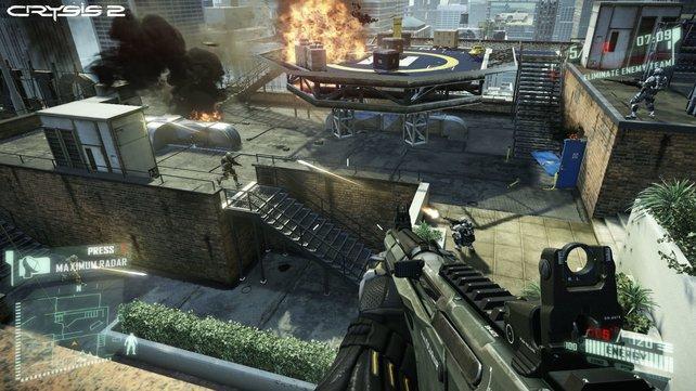 Die Mehrspieler-Gefechte finden immer auf zwei Höhen-Ebenen statt - dank des sprungewaltigen Nanosuits kein Problem.