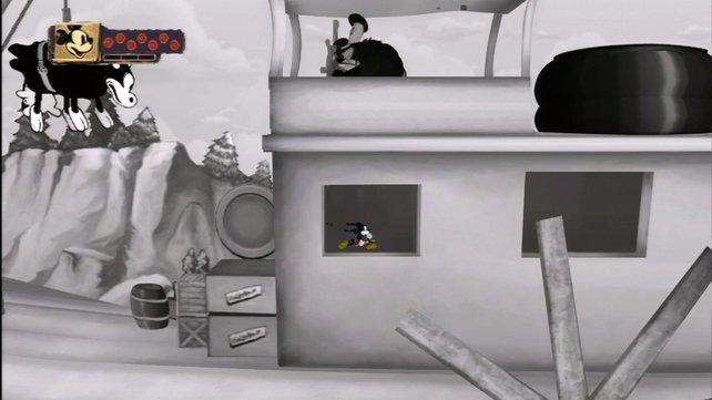 Nostalgiker aufgepasst: Zwei alte Trickfilme in Schwarzweiß könnt ihr im Spiel freischalten.