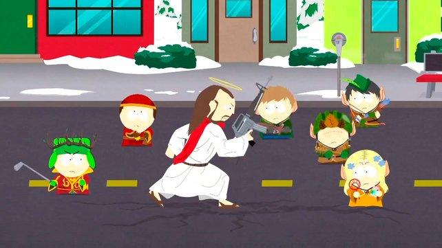 Ja, das soll Jesus sein. Mit einem Sturmgewehr!