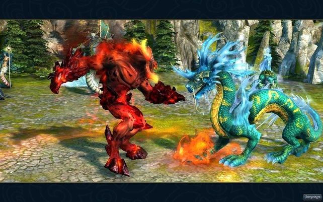 Dämonen gegen heilige Drachen, die Schlacht tobt.