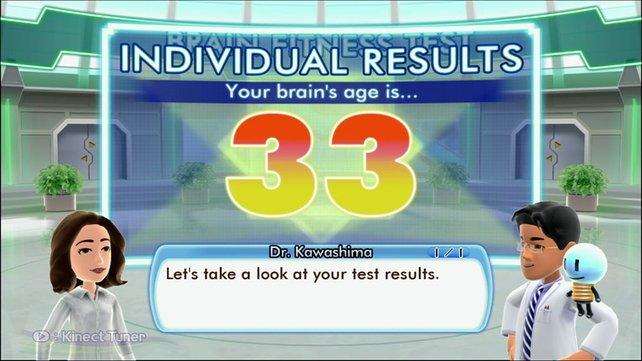 In drei Übungen wird euer Gehirnalter ermittelt. Die deutsche Version hat natürlich deutsche Bildschirmtexte.