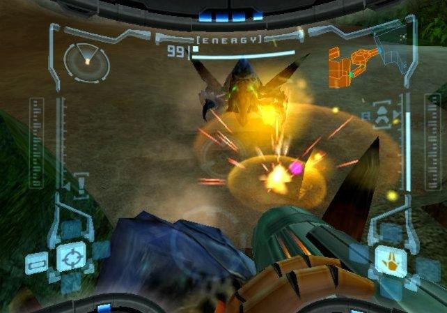 Näher wart ihr den Weltraumpiraten noch nie. Metroid Prime spielt ihr aus der Ego-Perspektive.