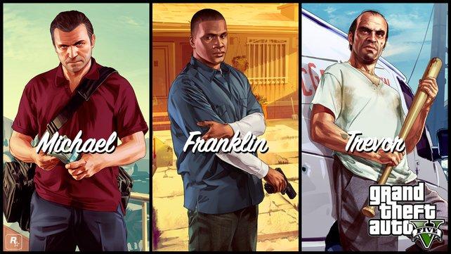 Die drei Hauptcharaktere Michael, Franklin und Trevor.