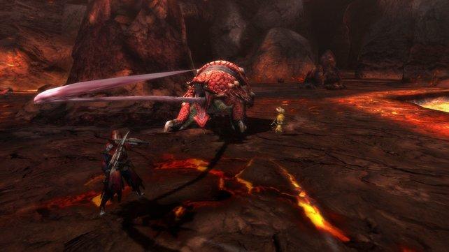 Doppelschwerter und dieses Zungen-Monster gab es bisher nur auf PSP-Ablegern.