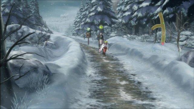 Hier erforscht Naruto einen verschneiten Pfad im Wald.