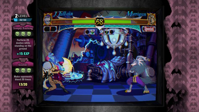 Morrigan setzt ihren Fernangriff Soul Fist gegen Werwolf Jon Talbain ein.