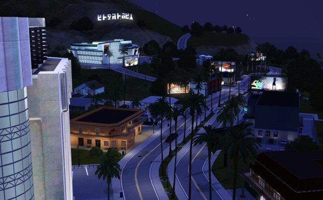 Ein nächtlicher Blick auf das Hollywood der Sims