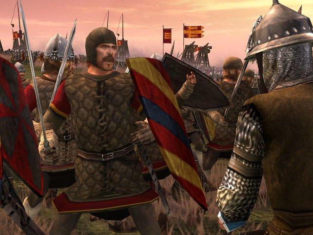 Mit Schwert und Schild geht's mitten in die Schlacht.